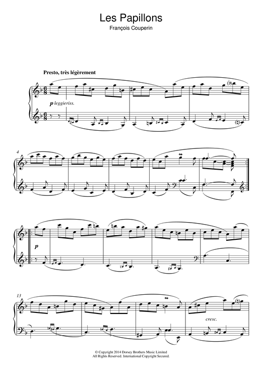 Partition piano Les Papillons de Francois Couperin - Piano Solo