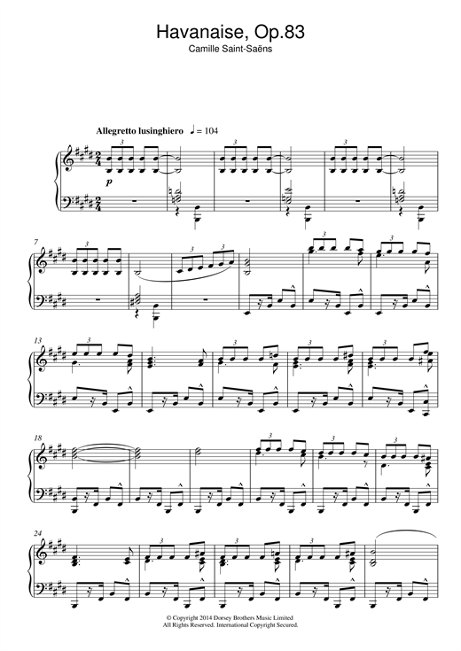 Havanaise Op. 83 Sheet Music