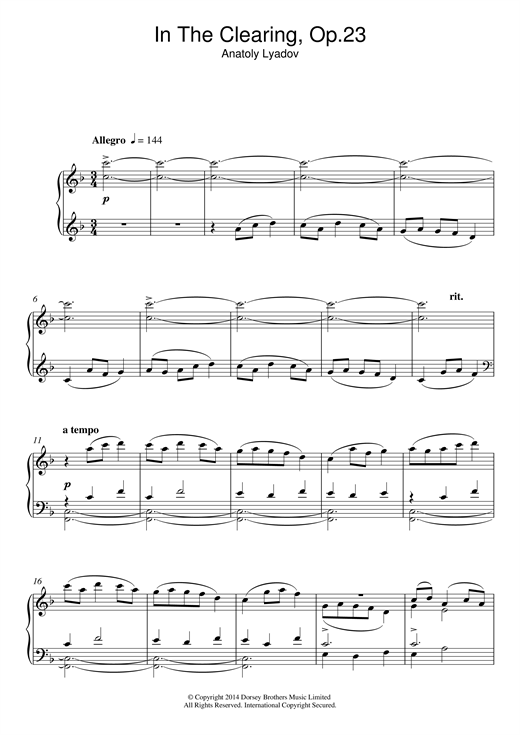 In The Clearing Op. 23 Sheet Music