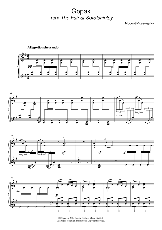 "Partition piano Gopak (from ""Sorotchinsky Fair"") de Modest Mussorgsky - Piano Solo"