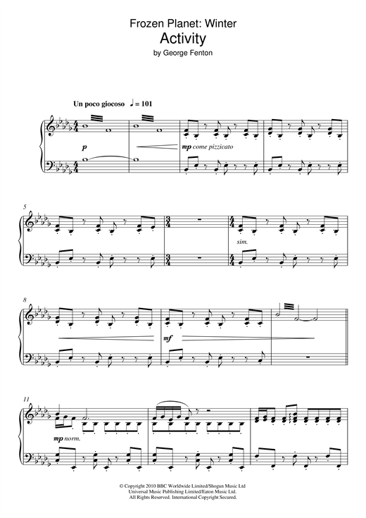 Partition piano Frozen Planet, Activity de George Fenton - Piano Solo