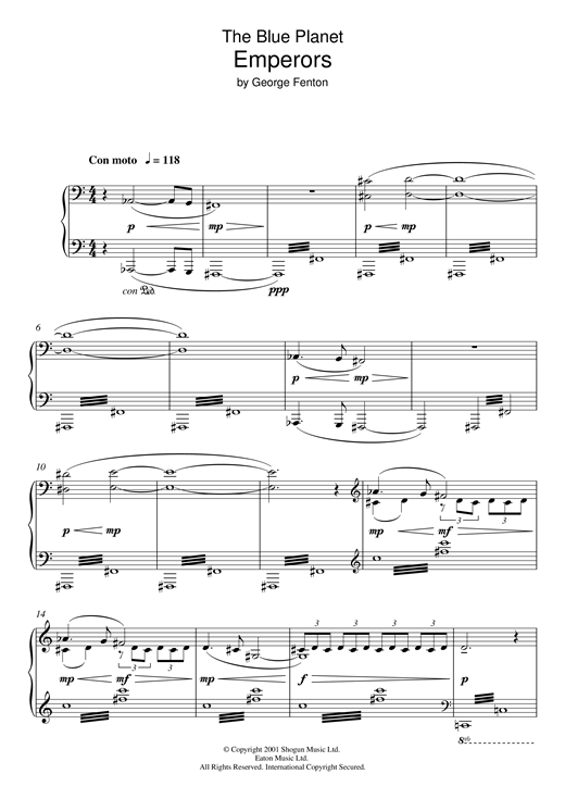 The Blue Planet, Emperors Sheet Music