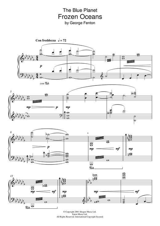 Partition piano The Blue Planet, Frozen Oceans de George Fenton - Piano Solo