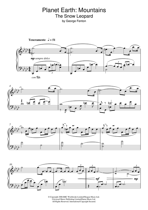 Planet Earth: The Snow Leopard Sheet Music