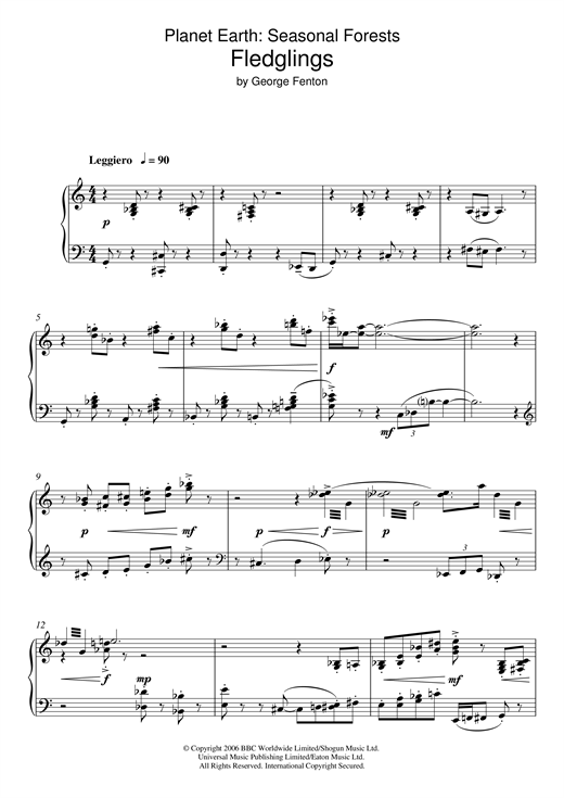 Planet Earth: Fledglings Sheet Music