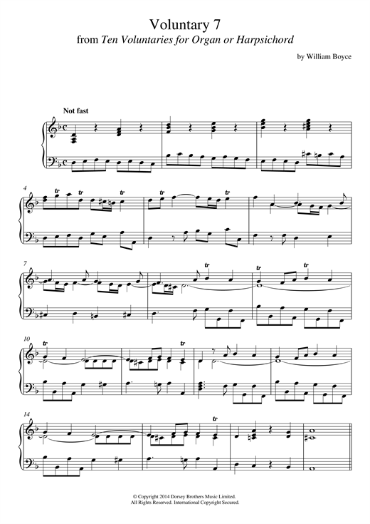 Voluntary 7 In D Minor From 10 Voluntaries For Harpsichord Sheet Music