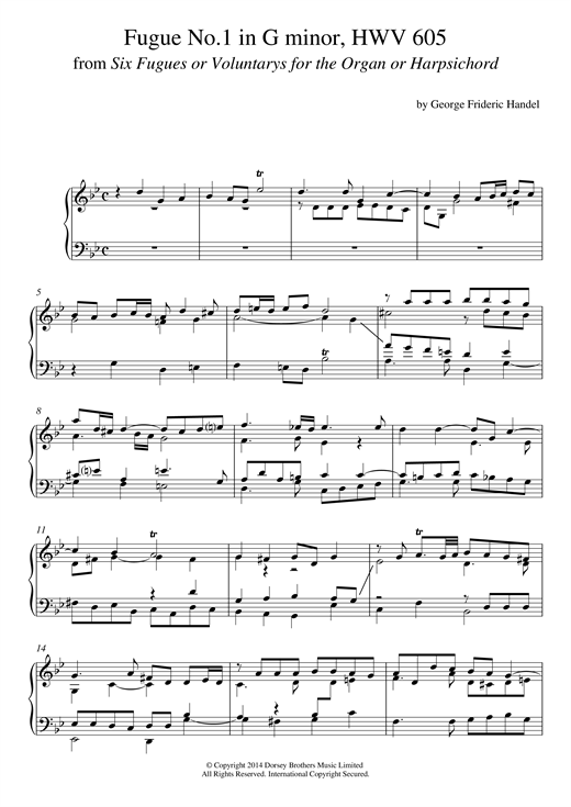 Fugue No.1 In G Minor (From 6 Fugues) HWV 605 Sheet Music
