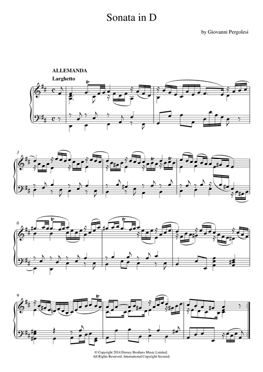 Harpsichord Sonata In D Major Sheet Music