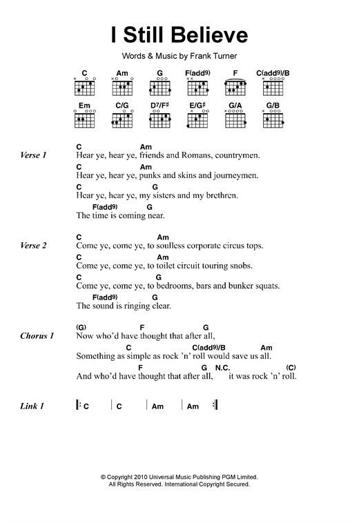 I Still Believe sheet music by Frank Turner (Lyrics & Chords – 117970)