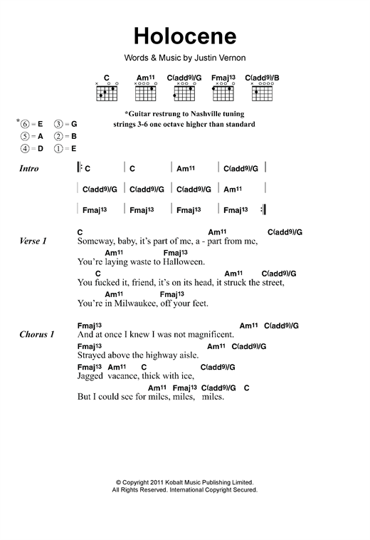 Holocene Sheet Music