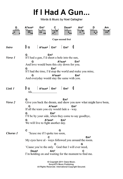 If I Had A Gun... sheet music by Noel Gallagher\'s High Flying Birds ...