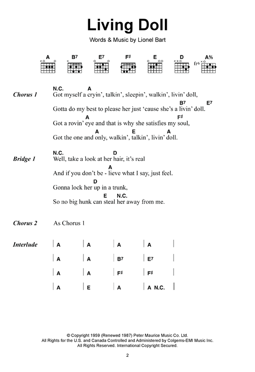 Living Doll (Guitar Chords/Lyrics)