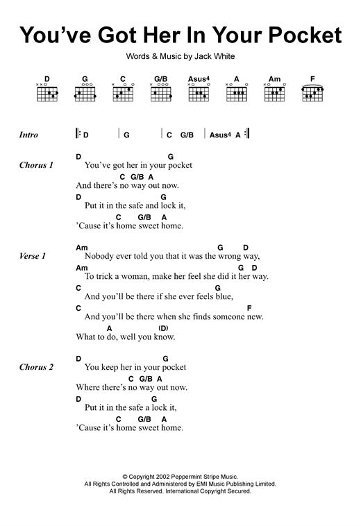 Youve Got Her In Your Pocket Sheet Music By The White Stripes