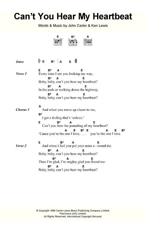 Cant You Hear My Heartbeat Sheet Music By Hermans Hermits Lyrics