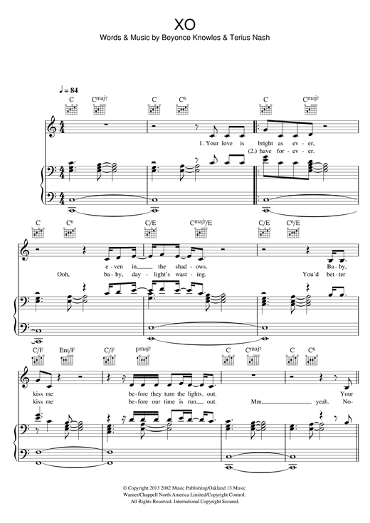 XO sheet music by Beyoncu00e9 (Piano, Vocal u0026 Guitar (Right-Hand Melody) u2013 118051)