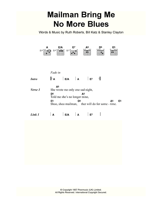 Mailman Bring Me No More Blues Sheet Music