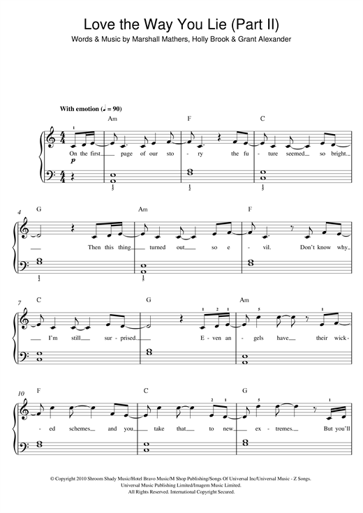 Love The Way You Lie Part Ii Feat Eminem Print Sheet Music Now
