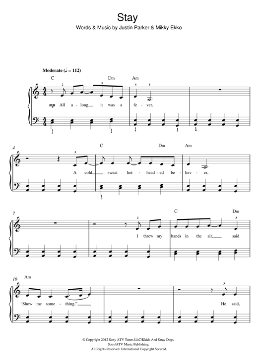 Piano stay rihanna piano chords : Stay sheet music by Rihanna (Beginner Piano – 118078)