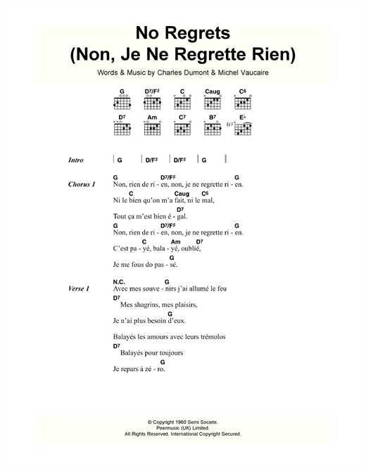 No Regrets (Non, Je Ne Regrette Rien) Sheet Music