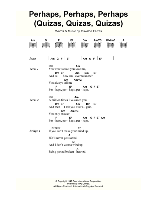 Perhaps, Perhaps, Perhaps (Quizas, Quizas, Quizas) (theme from Coupling) Sheet Music