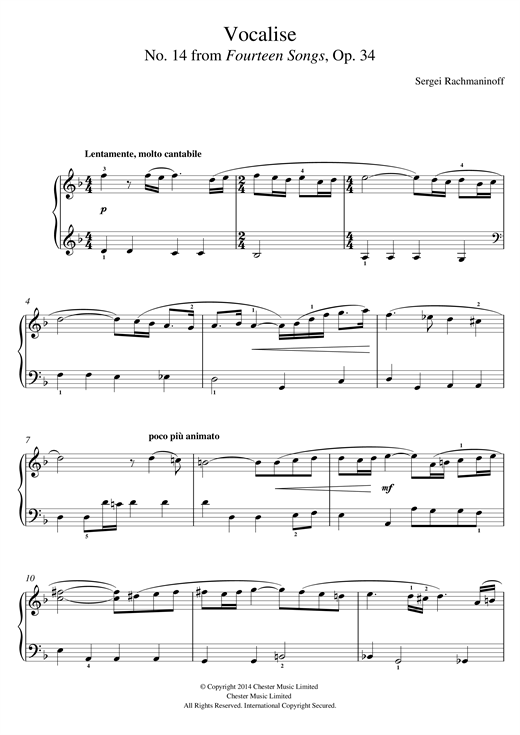 Vocalise (No.14 from Fourteen Songs, Op.34) Sheet Music