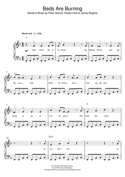 Beds Are Burning Sheet Music