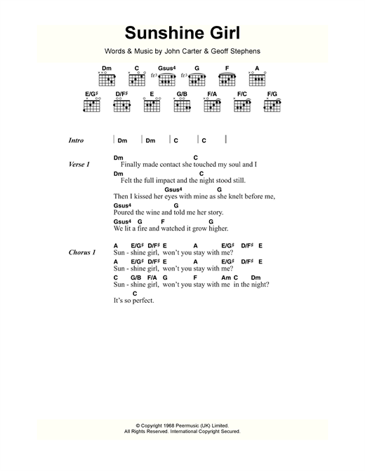 Sunshine Girl Sheet Music