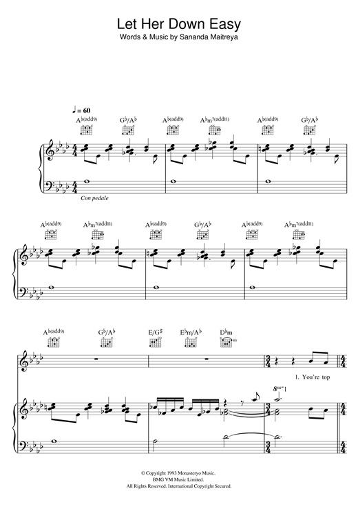 Let Her Down Easy Sheet Music