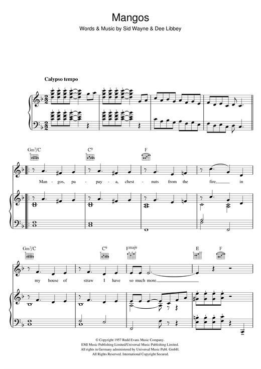 Mangos Sheet Music