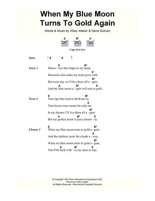 When My Blue Moon Turns To Gold Again Sheet Music