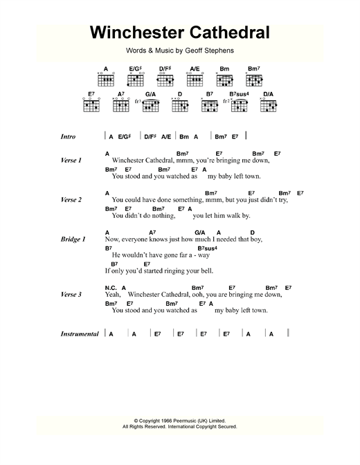 Winchester Cathedral (Guitar Chords/Lyrics)