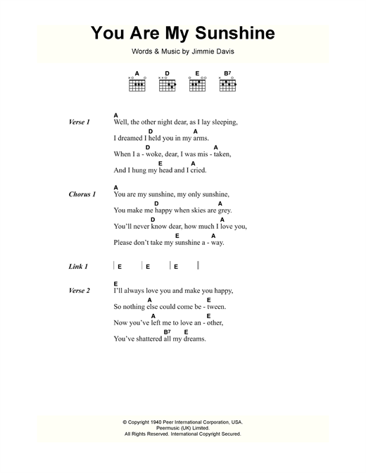 You Are My Sunshine sheet music by Jimmie Davis (Lyrics u0026 Chords u2013 118155)
