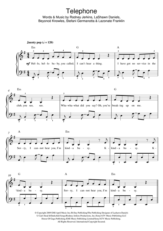 Telephone Sheet Music