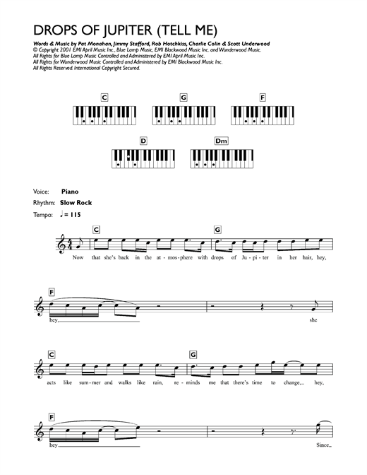 Drops Of Jupiter Tell Me Sheet Music By Train Keyboard 118180