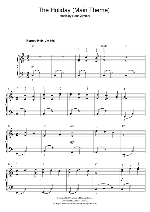 The Holiday (Main Theme) Sheet Music
