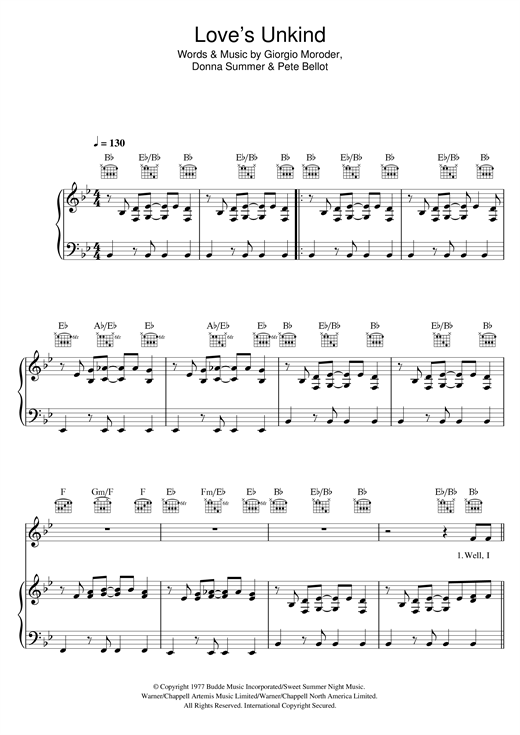 Love's Unkind (Piano, Vocal & Guitar (Right-Hand Melody))