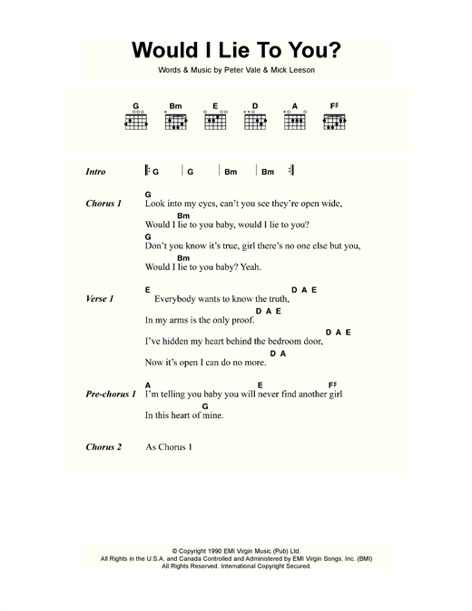 Would I Lie To You? Sheet Music