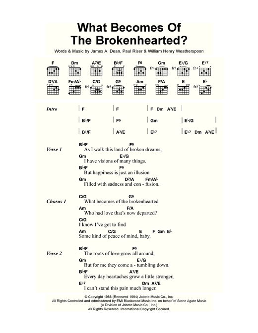 What Becomes Of The Brokenhearted? sheet music by Jimmy Ruffin ...