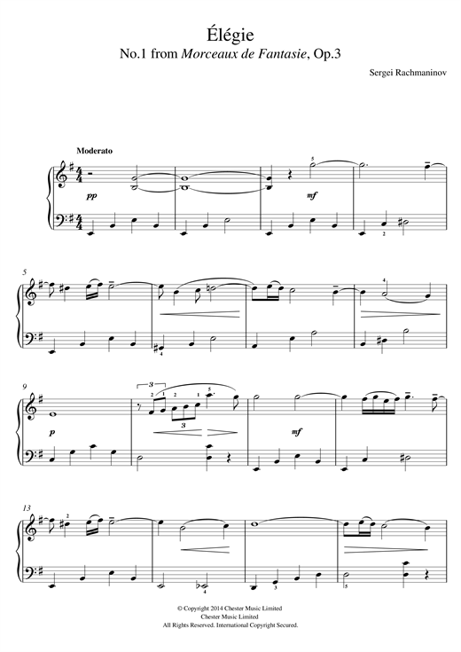 Partition piano Élégie (No.1 from Morceaux de Fantasie, Op.3) de Sergei Rachmaninoff - Piano Facile