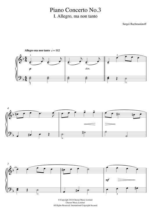 page one of Piano Concerto No.3 - 1st MovementASALTTEXT