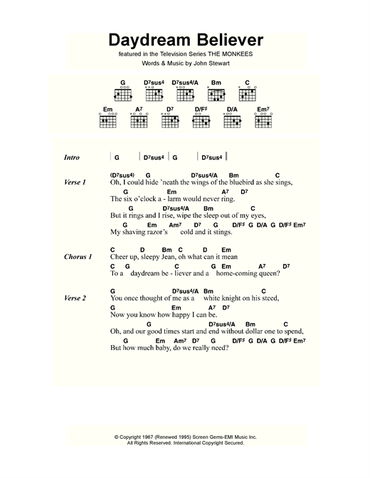 Daydream Believer Sheet Music By The Monkees Lyrics Chords 118280