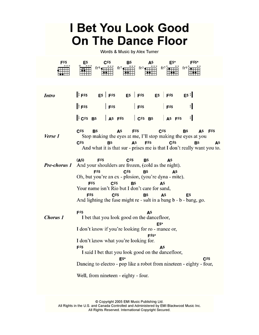 I bet you look good on the dance floor sheet music by for Get off the floor lyrics