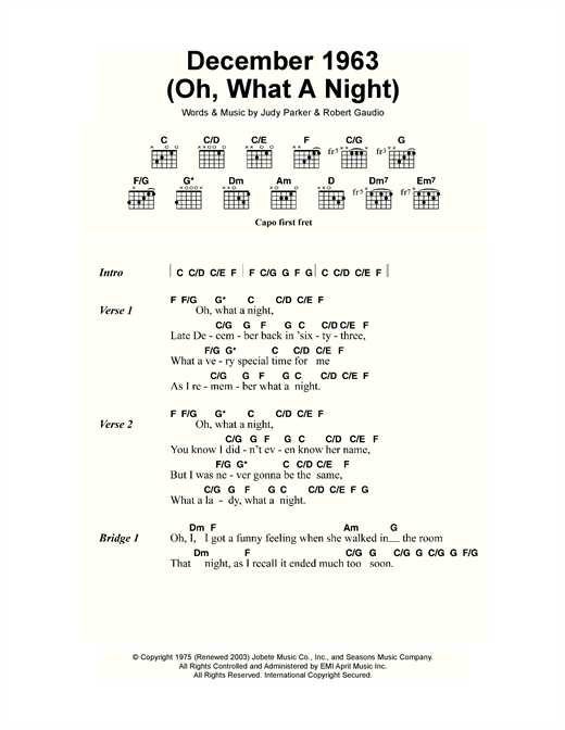 December 1963 (Oh, What A Night) Sheet Music