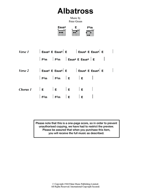 Albatross sheet music by Fleetwood Mac (Lyrics & Chords – 118304)