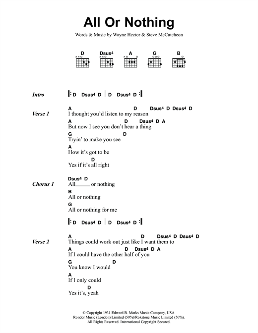 All Or Nothing sheet music by Small Faces (Lyrics & Chords – 118307)
