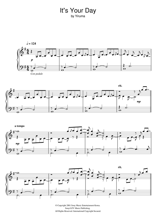 Partition piano It's Your Day de Yiruma - Piano Solo