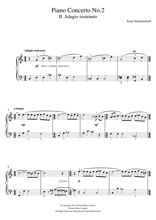 Piano Concerto No.2 - 2nd Movement Sheet Music