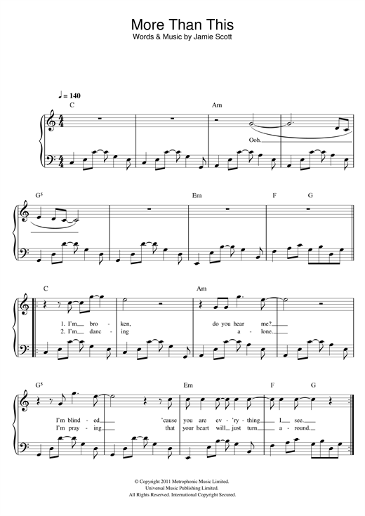 More Than This Sheet Music