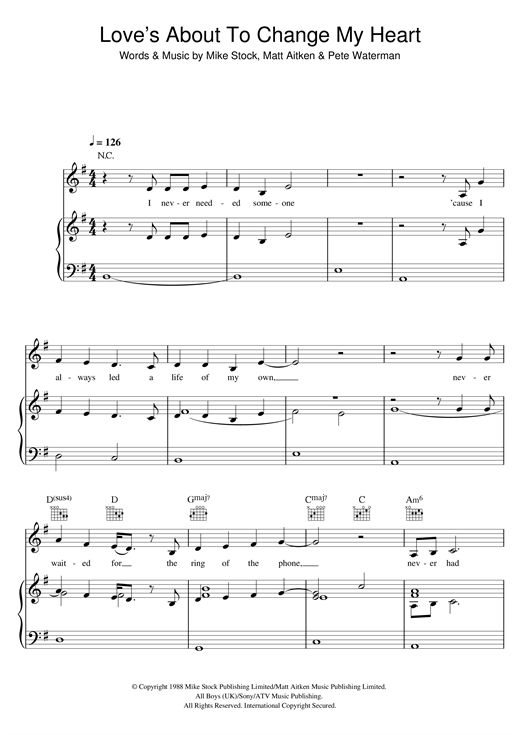 Love's About To Change My Heart Sheet Music