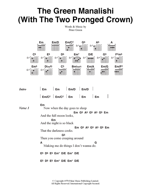 The Green Manalishi (With The Two Pronged Crown) Sheet Music